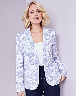 Julipa Ivory Floral Linen Mix Tailored Jacket