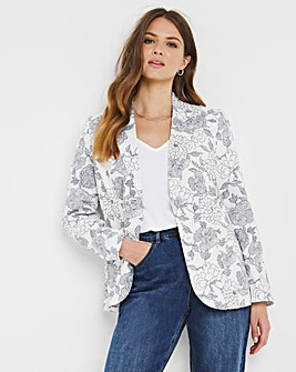 Julipa Ivory Floral Linen Mix Tailored Jacket