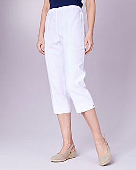 Julipa White Crop Linen Mix Trousers