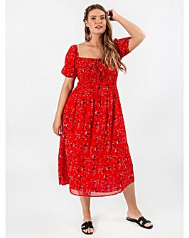 Koko Red Square Neck Midi Dress