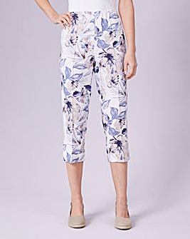 Julipa Blue Print Crop Linen Print Mix Trousers