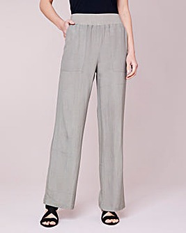 Julipa Ribbed Waist Linen Mix Trouser 27""