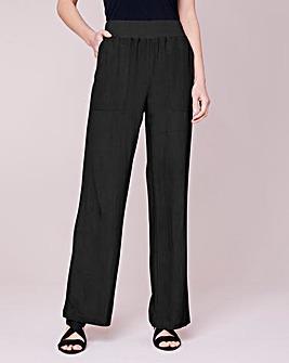 Julipa Ribbed Waist Linen Mix Trouser 27