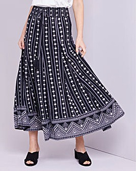 Julipa Crinkle Border Print Skirt