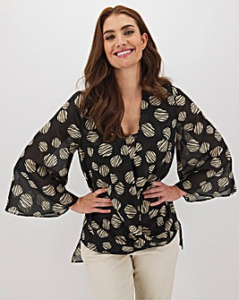 Double Layer Wrap Blouse With Dip Back