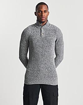 Grey Twisted Yarn Button Neck Jumper