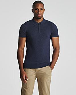 Denim Marl Short Sleeve Zip Neck Knitted Polo Shirt