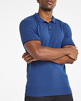 Blue Short Sleeve Textured Polo Shirt