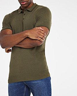 Khaki Short Sleeve Textured Polo Shirt