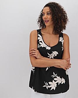 Mono Floral Print Woven Vest