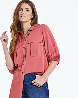 Balloon Sleeve Utility Shirt