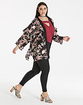 Oriental Print Ruffle Sleeve Kimono