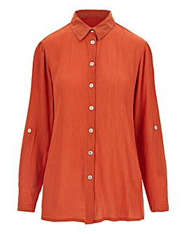 Terracotta Crinkle Turn up Sleeve Shirt
