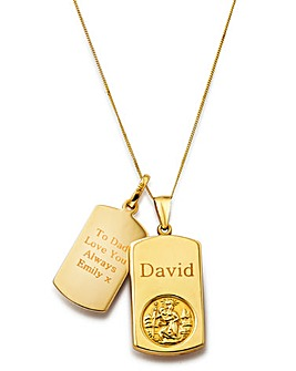 9 Carat Yellow Gold St Christopher Double Tag Personalised Pendant