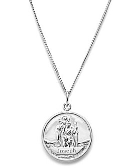 Personalised Sterling Silver Gents Saint Christopher Pendant