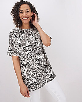 Leopard Print Ladder Insert Shell Top