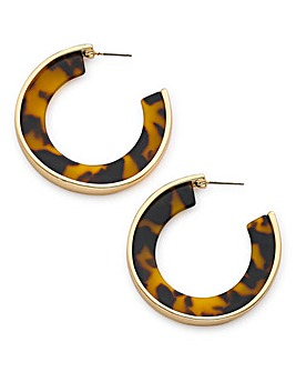 Metal And Tort Hoop Earrings