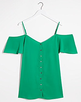 Green Cold Shoulder Cami Top