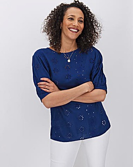 Navy Crinkle Broderie Detail Top