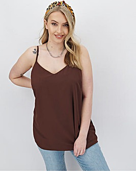 Chocolate Woven Strappy Cami