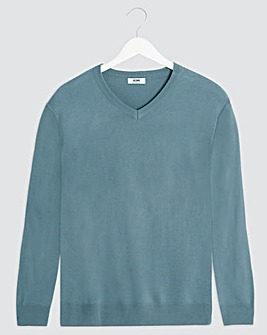 Blue V-Neck Acrylic Jumper Long
