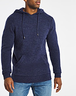 Navy Fluffy Recycled Knit Hoodie