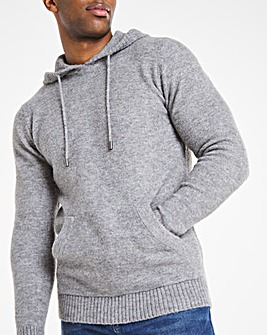 Charcoal Fluffy Recycled Knit Hoodie