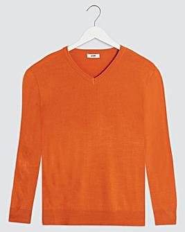 Rust V-Neck Acrylic Jumper Long