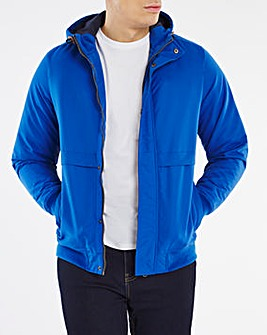 Blue Fleece Lined Hooded Bomber Jacket