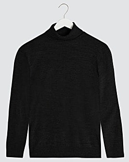 Black Acrylic Roll Neck Jumper Long
