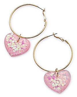 Heart Trapped Hoop Earrings