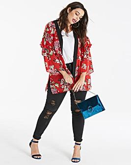 Red Print Ruffle Sleeve Kimono