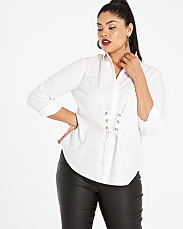 Washed White Shirt With Corset Detail