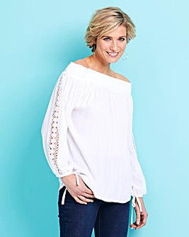 Ivory Embroidered Crinkle Bardot Top