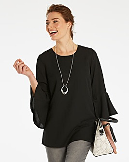 Black 3/4 Fluted Sleeve Blouse