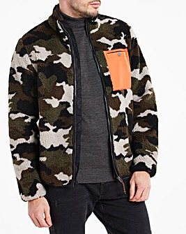Camo Borg Fleece Zip Through Jacket