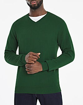 Dark Green V-Neck Cotton Jumper Long