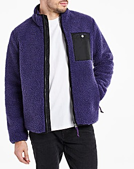 Purple Borg Lined Zip Through Jacket