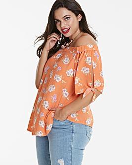 Orange Floral Tie Sleeve Bardot