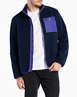 Navy Borg Lined Zip Through Jacket