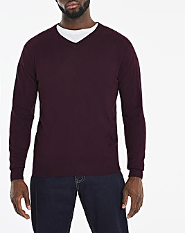 Purple Acrylic V-Neck Jumper Long