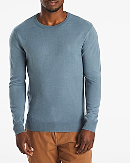 Blue Acrylic Crew Neck Jumper Long