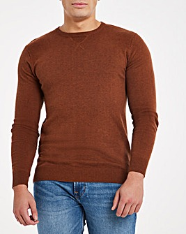 Tan Crew Neck Cotton Jumper Long