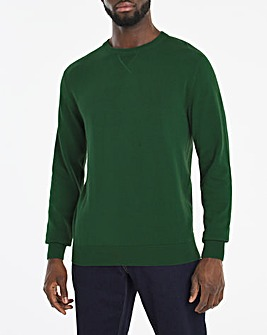 Dark Green Crew Neck Cotton Jumper Long