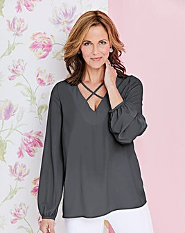 Dark Grey Cross Front Long Sleeve Top