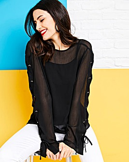 Black Lace Up Sleeve Top