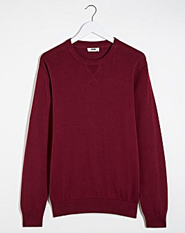 Wine Crew Neck Cotton Jumper Long