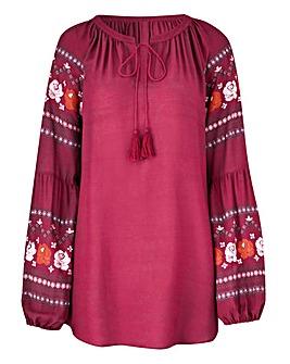 Petite BerryRed Print Sleeve Peasant Top