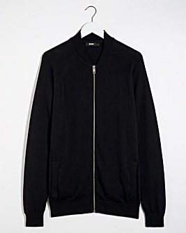 Black Cotton Bomber Jacket Long