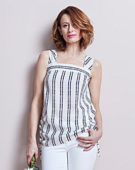 Ivory/Navy Stripe Square Neck Vest